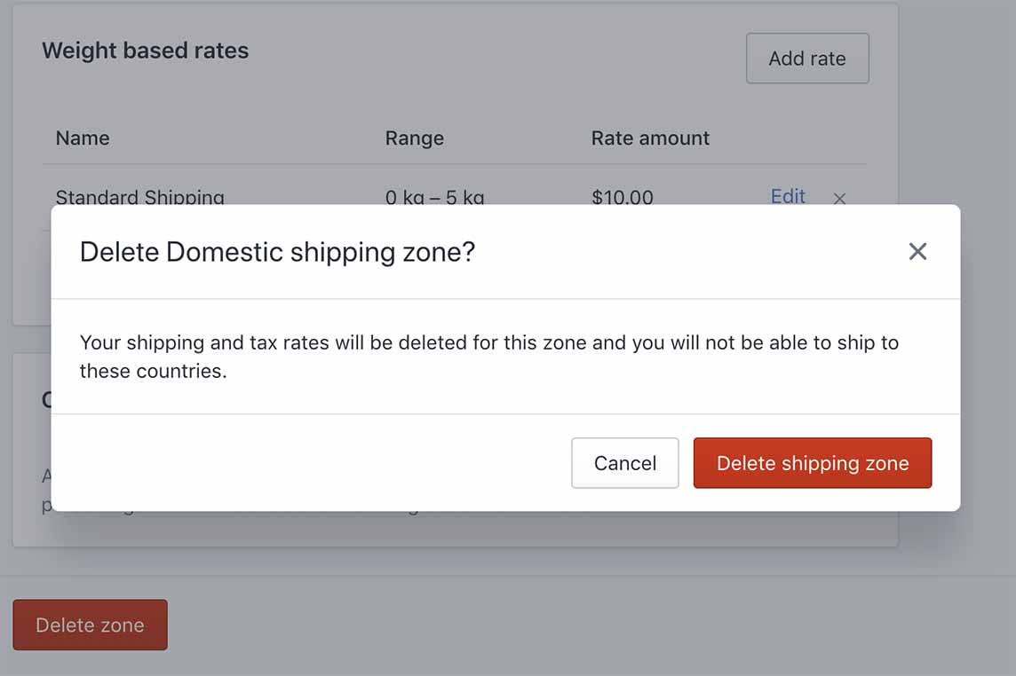 Delete Shipping Zone On Shopify