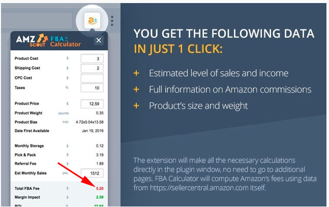 AMZScout Review AMZScout FBA Fee Calculation